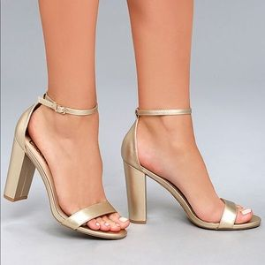 Lulu's Gold Taylor Strappy Heels